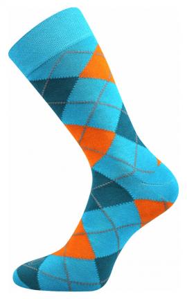Bunte Socken mit Karomuster blau 1