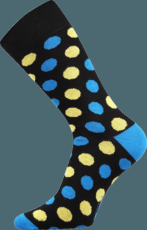 Bunte Socken mit Punkten schwarz 1