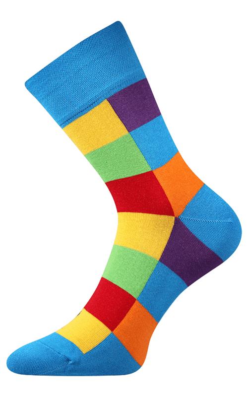 Bunte würfelige Socken blau 2