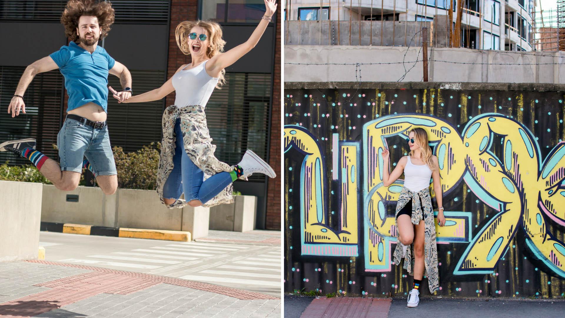 Fotoshooting bunter Socken mit Graffiti