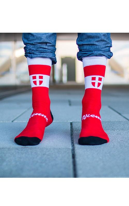 Socken mit Wien Motiv in der Stadt