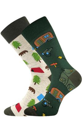Bunte Socken mit Camping Motiv
